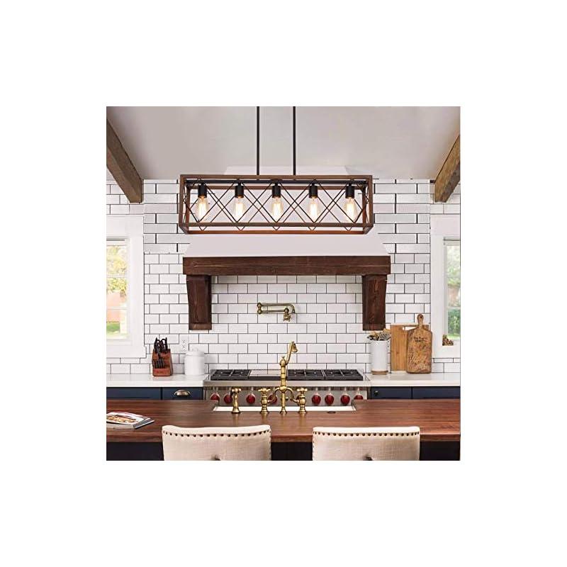 Q&S Farmhouse Island Chandelier Light Fixture, Brown+ORB,Rectangle Geometric Linear,Rustic Vintage Light Fixture for…