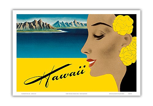 Pacifica Island Art Hawaii - Matson Navigation Lines - Vintage Cruise Ship Passenger Luggage Decal by Frank Macintosh c.1940s - Hawaiian Master Art Print - 12 x 18in