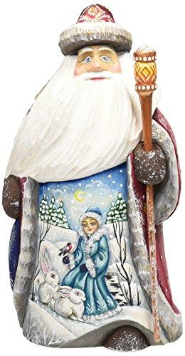G. Debrekht Snow Mainden with Bunny Santa Hand-Painted Wood Carving Debrekht Santa