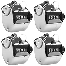 4 Digit Hand Tally Counters, AFUNTA 4 Pack Mechanical Lap Tracker Manual Clicker with Metal Finger Ring Hoop Holder-Silver