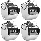 4 Digit Hand Tally Counters, AFUNTA 4 Pack Mechanical Lap Tracker Manual Clicker with Metal Finger Ring Hoop Holder - Silver