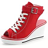 Smilety Women's Sneaker Fashion Canvas High-Heeled Shoes Lace UP Wedge Pump Shoes (10 B(M) US, Red 4)