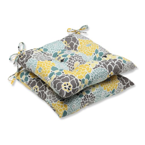 Pillow Perfect Outdoor Full Bloom Wrought Iron Seat Cushion, Set of 2
