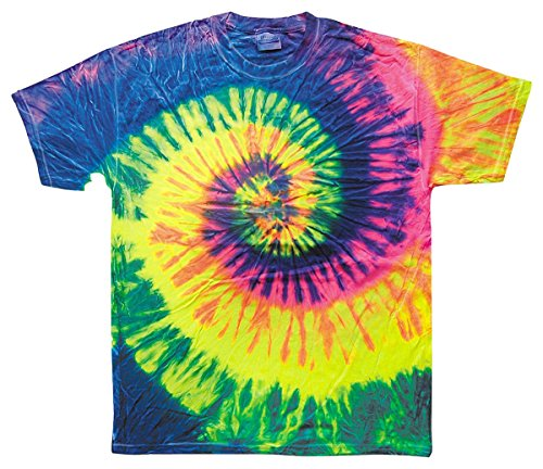 (Tie-Dye Big Boys Double-Needle Tie Dyed T-Shirt, NEON RAINBOW, Medium)