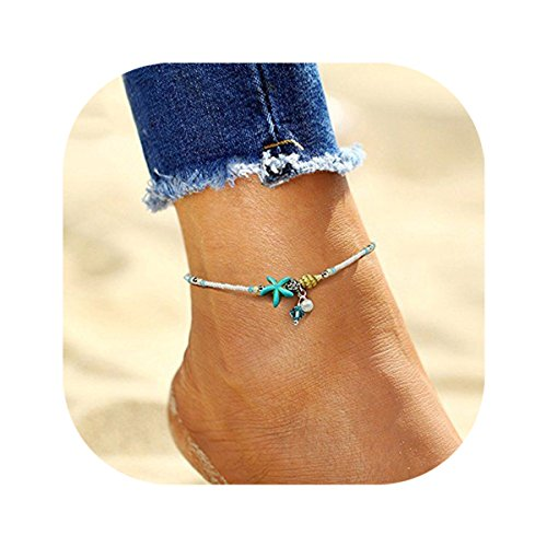 Hanloud Boho Starfish Pearl Anklet Glass Shell Turquoise Starfish Charm Beach Anklet Bracelet Foot ()