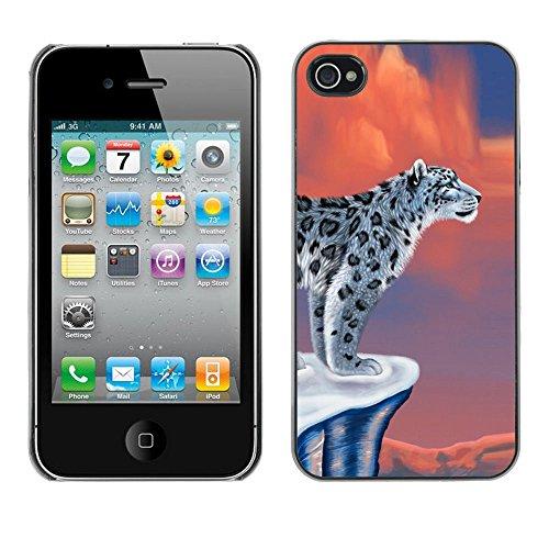 TaiTech / Case Cover Housse Coque étui - Snow Leopard Art Big Cat Beautiful Drawing Wild - Apple iPhone 4 / 4S