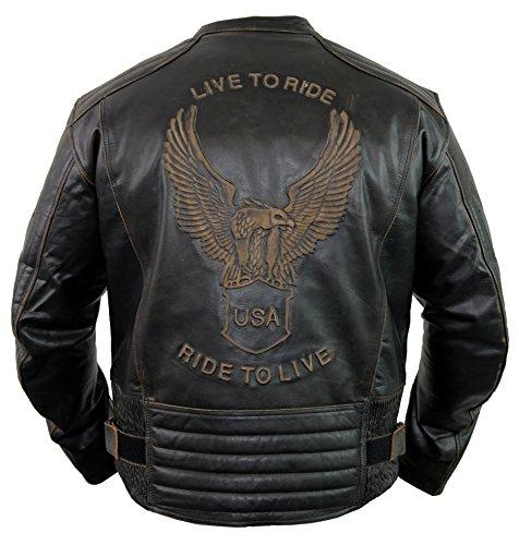 Motorrad Lederjacke mit einer Adler Prägung (2XL)