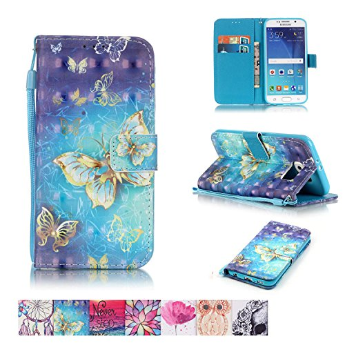 Galaxy S6 Case, Firefish [Kickstand] [Card/Cash Slots] Impact Dispersion PU Leather Wallet Flip Cover with Wrist Strap for Samsung Galaxy S6