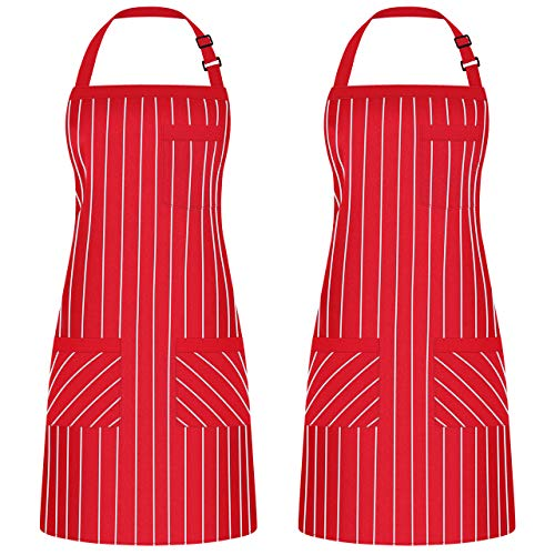 Syntus 2 Pack Adjustable Bib Apron with 3 Pockets Cooking Kitchen Aprons for BBQ Drawing, Women Men Chef, Red/White… 1