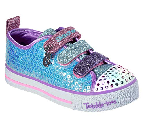 Skechers Kids Girls' Twinkle LITE-Mermaid Magic Sneaker, Turquoise/Multi, 1 Medium US Little -