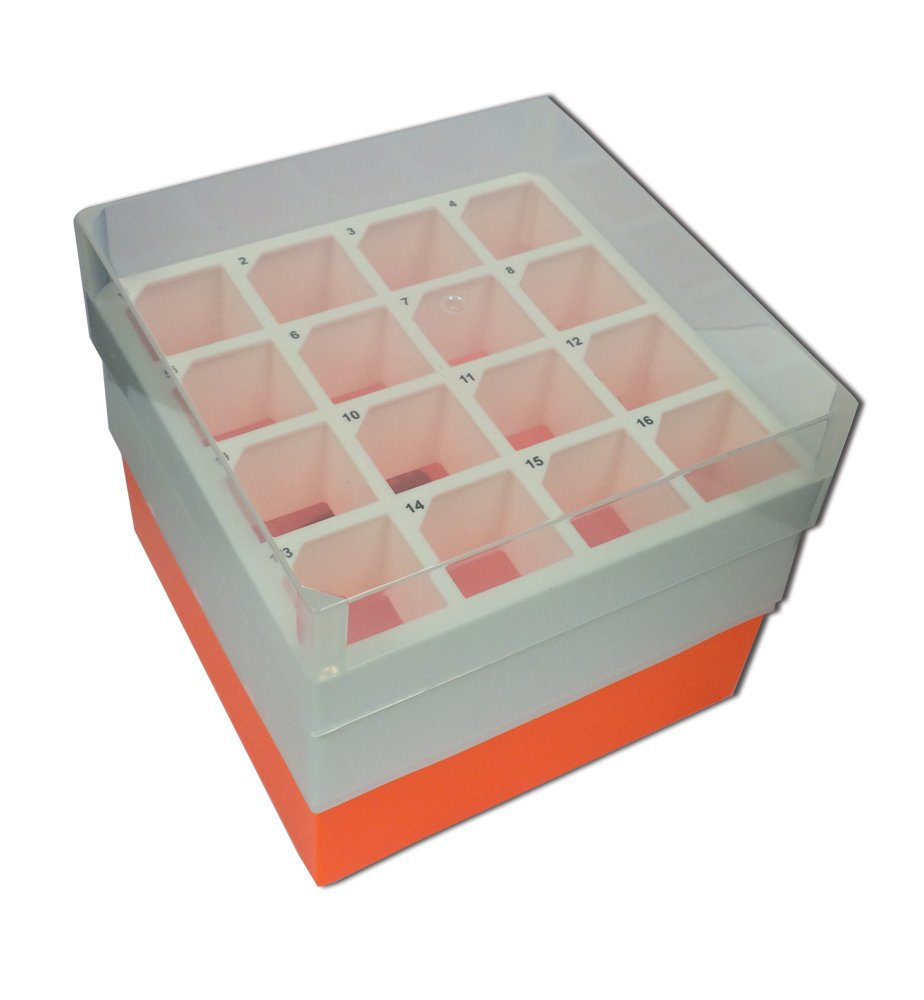 "Argos R0050 Orange Polypropylene 16 Place Centrifuge Tube Freezer Storage Box with Clear Lid for 50mL Centrifuge Tubes, 5-3/4"" Length x 5-3/4"" Width x 4-7/8"" Height (Pack of 2)"