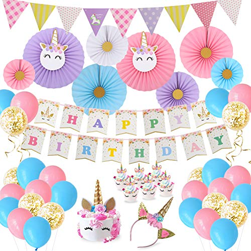Birthday Party Decorations Baby Girls Unicorn Theme Party Supplies Paper fans Cupcake Wrapper Balloons Happy Birthday Banner Unicorn Headband for Kids Birthday Party -