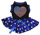 Petitebella Rhinestones USA Heart Black Shirt Blue Stars Tutu Puppy Dog Dress (XX-Large)