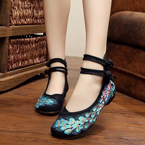 Ethnique Féminin Mode Brodées coloré Confortable 39 Tendon Désinvolte Taille Fuxitoggo Noir Tissu Chaussures Semelle Style En 1x8qzXWAwg
