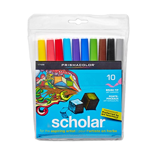 Prismacolor 1774268 Scholar Art Markers, Brush Tip, Assorted, 10-Count