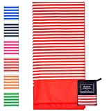 Microfibre Beach Towel Extra Large - 180cm x 90cm Quick Dry XL Lightweight Towel with Easy Zip Bag - The design is perfect for Beach, Travel, Yoga, Sports, Gym, Swimming & Camping (Red Coral)