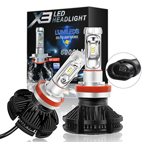 SuperArt H11 LED Headlight Bulbs X3 Series H8 H9 Led Bulbs Conversion Kit with 2 Pcs of LED Bulbs 50W 6000lm ZES Chips Fanless Design Halogen Head light Replacement 6000K Cool White