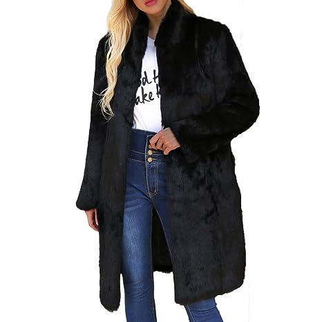 Saihui_Women Coats & Jackets Chaqueta de Mujer Elegante y cálida de Pelo Largo, de Piel