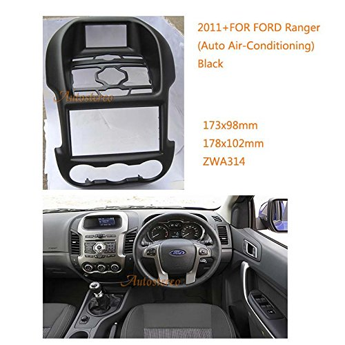 Autostereo 11-314 Car Radio Surround Fascia for FORD Ranger 2011+ Auto Air-Conditioning Black Car Radio Installation Frame FORD Ranger Stereo Interface Dash CD Trim Installation Kit - Ranger Air Conditioning