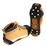 Asiv® Universal Lightweight Anti Slip Winter Ice Traction Snow Ice Grippers Cleats Safety Shoe Covers Black