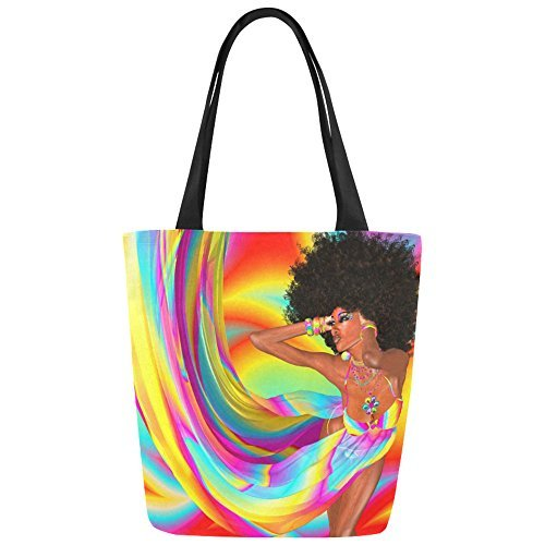 InterestPrint Sexy Afro Woman Colorful Canvas Tote Bag Shoulder Handbag for Women Girls by InterestPrint