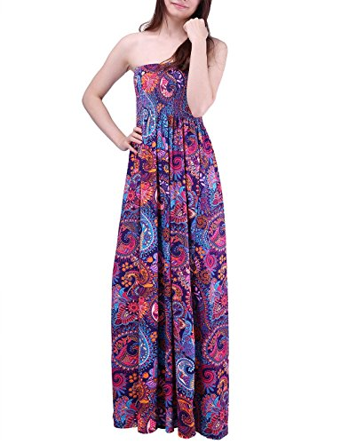 HDE Women's Strapless Maxi Dress Plus Size Tube Top Long Skirt Sundress Cover up (Purple Paisley, 2X) by HDE (Image #2)