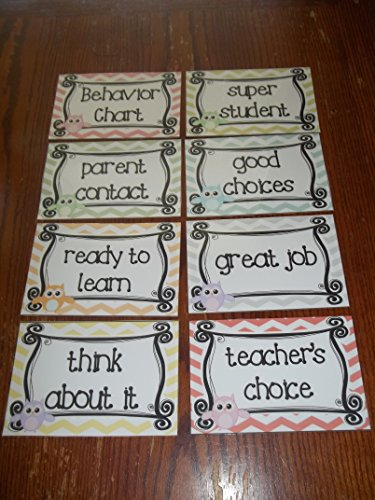 8 Laminated Owl themed Behavior Clip Chart Cards. Daycare supplies and accessories. Classroom Behavior Management ()