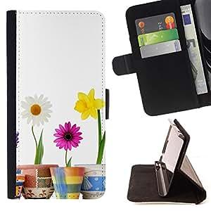 BullDog Case - FOR/LG Nexus 5 D820 D821 / - / MINIMALIST FLOWERS /- Monedero de cuero de la PU Llevar cubierta de la caja con el ID Credit Card Slots Flip funda de cuer