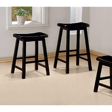 29 H Set of 2 Black Solid Wood Barstools