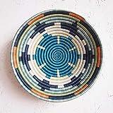 African Basket- Mwangaza/Rwanda Basket/Woven Bowl/Sisal & Sweetgrass Basket/Blues, Orange, Green, Yellow, White