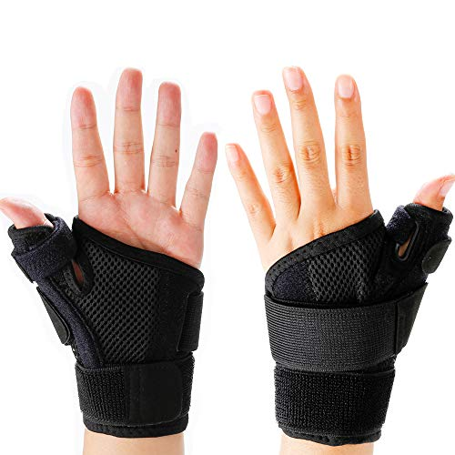 Wrist Thumb Brace Thumb Spica Splint Carpal Tunnel Wrist Thumb Support-Arthritis, Tendonitis-Trigger Thumbs Supports Braces-Breathable-Fits Men,Women, Ergonomic Design Adjustable Fits All Hands