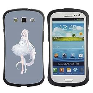 Be-Star Impreso Colorido Diseño Antichoque Caso Del Iface Primera Clase Tpu Carcasa Funda Case Cubierta Par SAMSUNG Galaxy S3 III / i9300 / i747 ( princess ballerina anime grey white )