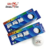 Double Fish 3 Star 40mm White Table Tennis Balls, Tournament Ping Pong Balls, For Professional Training and Common Match 2 Pack (3 balls in one pack)