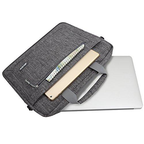 MOSISO Polyester Messenger Laptop Shoulder Bag Compatible 11.6-13.3 inch MacBook Air, MacBook Pro, Notebook Computer, Briefcase Handbag Carrying Case Cover with Adjustable Depth at Bottom, Gray by MOSISO (Image #4)
