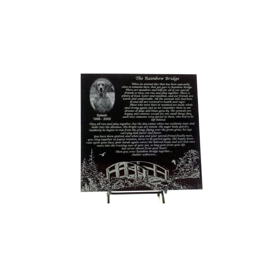 Rainbow Bridge Personalized Black Granite Plaque