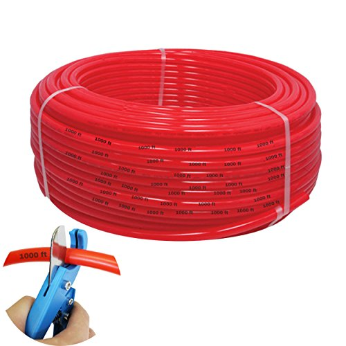 Tubing 1000 Feet Flexible Pipe - Radiant Hydronic Heating Piping O2 Water Barrier PEX-B Polyethylene Plastic Tubes - Radiator Heat Transfer Floors Baseboards Driveways Free Cutter ()