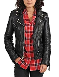 Prim leather Women's Lambskin Leather Bomber Biker Jacket