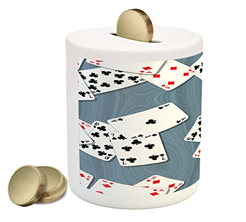 Ambesonne Casino Piggy Bank  Abstract Background With Playing Cards Metropolitan Tourist Attractions  Printed Ceramic Coin Bank Money Box For Cash Saving  Slate Blue Red Black