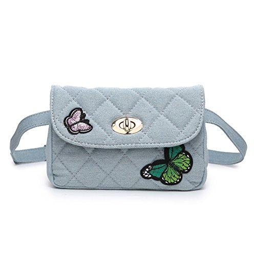 Badiya Denim Women Waist Bag Quilted Fanny Pack Butterfly Elegant Crossbody Bag Blue Butterfly