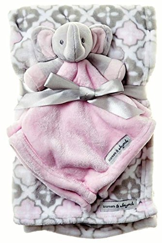 amazon com blankets beyond pink grey blanket with elephant