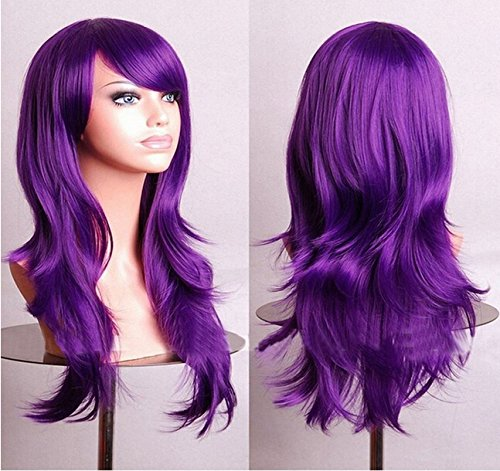 1920s Long Hair Styles (Loviness 28 inches Women's Hair Wig Heat Resistant Cosplay Long Wavy Hair Wig with Wig Cap Party Wig-Purple)