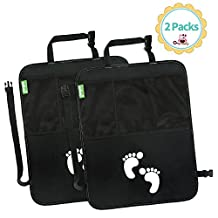 Glangels Car Seat Kick Mats: Pack Of 2 Lightweight Protective Backseat Organizer Covers With Pockets –Waterproof & Scratch Proof a Washable Fabric & Large Mesh Storage Bag (black)