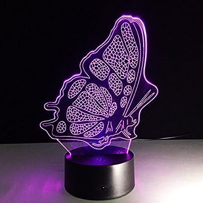G ANDEa Luz de la noche, luces de la mariposa 3D, luces del interruptor del tacto LED, lámpara de tabla visual de la lámpara del gradiente Originalidad ...