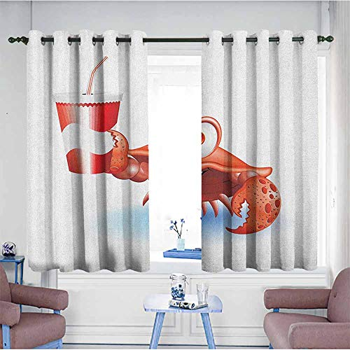 HOMEDD Extra Wide Patio Door Curtain,Crabs Thirsty Marine Animal with Drink on a Paper Cup with Straw Summertime Theme,for Bedroom Grommet Drapes,W72x45L Vermilion White Blue