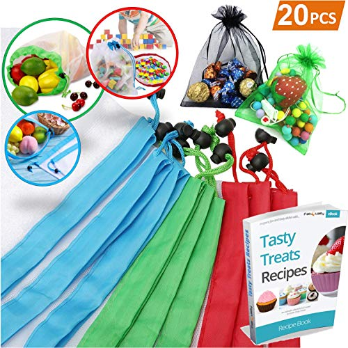 Reusable Produce Bags, 20PCS - 18 Washable Mesh Bag, 2 Mini Bag with Eco Friendly Toy Fruit Vegetable Produce Bags with Drawstrings for Home Shopping Grocery Storage - 3 Various ()