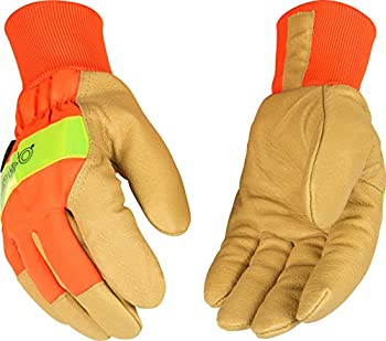 Kinco 1938KW Heatkeep Lined Grain Pigskin Leather High Visibility Glove with Orange Back, Knit Wrist, Work, X-Large, Palomino (Pack of 6 Pairs)