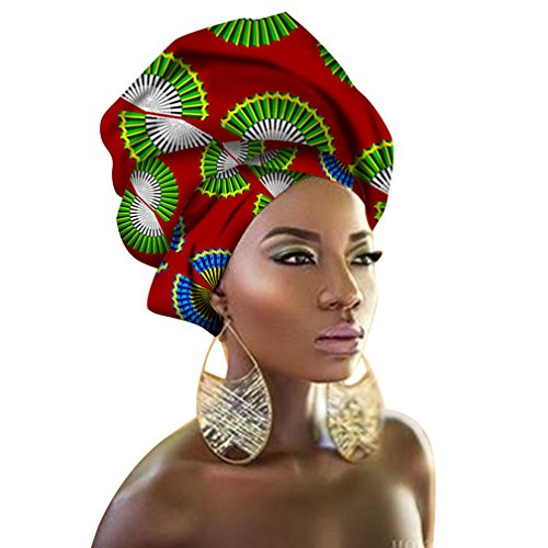 Chien Multi-color Urban Ladies Hair Accessory Headband,Bazin Wax Print Wrap Tie Scarf, African Head Scarf Gele Ipele (Red - Green Forever T-shirt