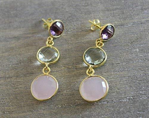 - Purple Amethyst Green Amethyst Prasiolite and Pink Chalcedony Vermeil Sterling Silver Post Earrings