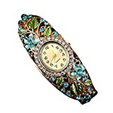 Elevin(TM) Woman Quartz Weave Around Leather Dolphin Bracelet Lady Wrist Watch