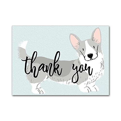 Set of 12 Thank You Notes and Envelopes with Watercolor Welsh Corgi Dog Puppy in Aqua Blue (Welsh Corgi Head)